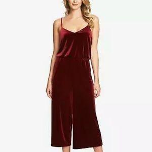 1. State Burgundy Velvet Wide Leg Jumpsuit